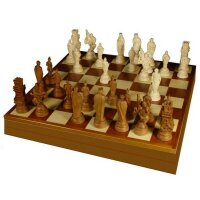 Figurines with chessboard