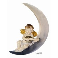 Putto on the moon with mandolin