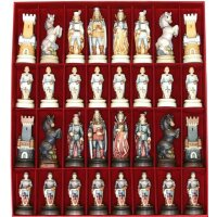 Knights wood carved chess set n.1 with box