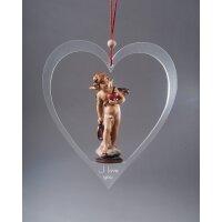 Cupid with heart of plexiglass