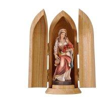 St. Elizabeth roses and jug in niche