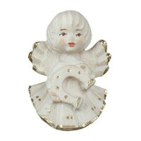 angel with horseshoe - natural with cristal - 2 inch