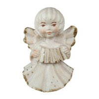 angel with accordion - natural with cristal - 2 inch