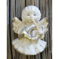 Angel with horn - natural with cristal - 2 inch