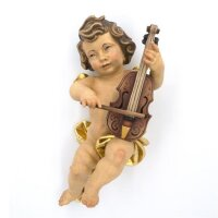 Angel with cello - color carved - 18 inch