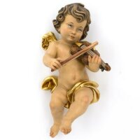 Angel with violin - color carved - 18 inch