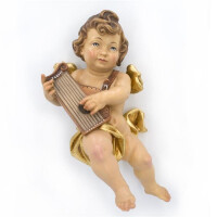 Angel with harp - color carved - 18 inch