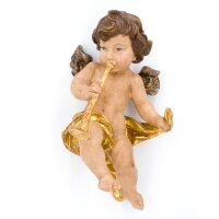 Angel with trombone - color carved - 18 inch