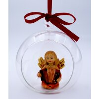 Angel with accordion in glass ball - color - 2 inch