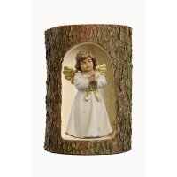 Bell angel, stand. praying in a tree trunk  colored