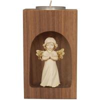 Kerzenhalter mit Schutzengel in Holz