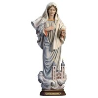 Queen of Peace with church - Linden wood carved