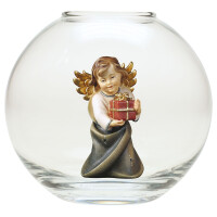 Heart Angel with present - Glass sphere