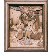 Children at fountain with frame
