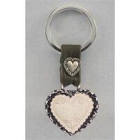 Heart keychain/leather decor