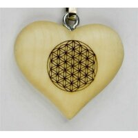 Key holder flower of life - natur with script - 1,4 inch