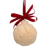 Pine wood ball with capricorn - natural - 4,7 inch