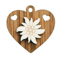 Heart with Edelweiss 5 cm -